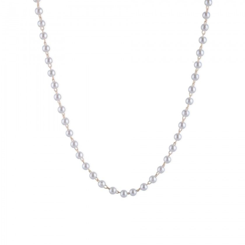 White pearl steel necklace