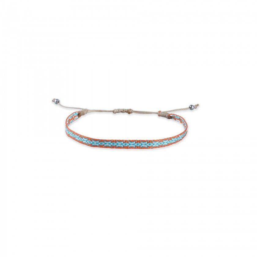 Orange and blue fabric bracelet