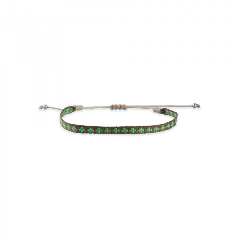 Green and brown fabric bracelet