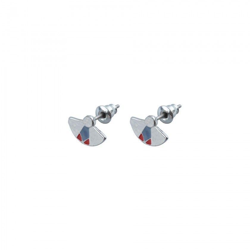 Silver fan brass earrings