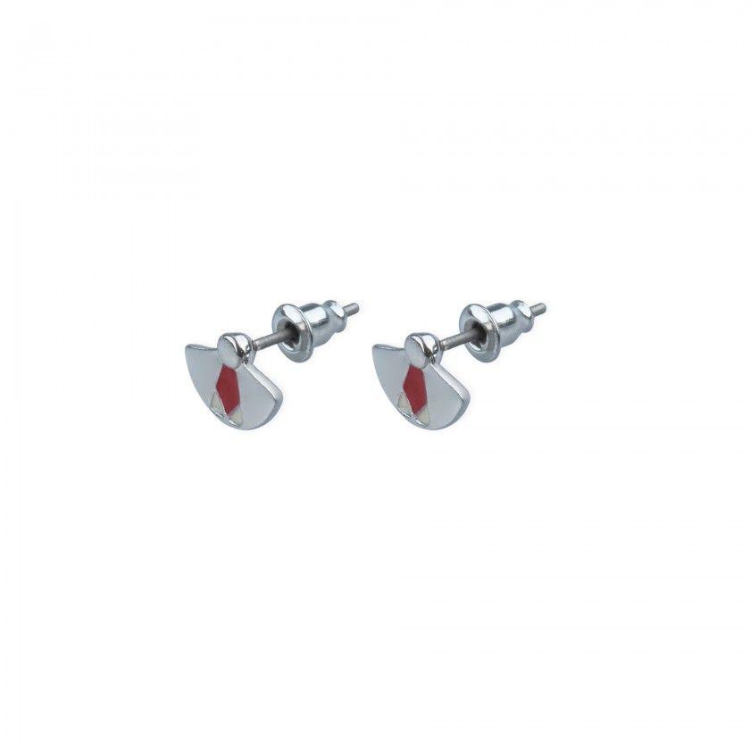 Golden fan brass earrings