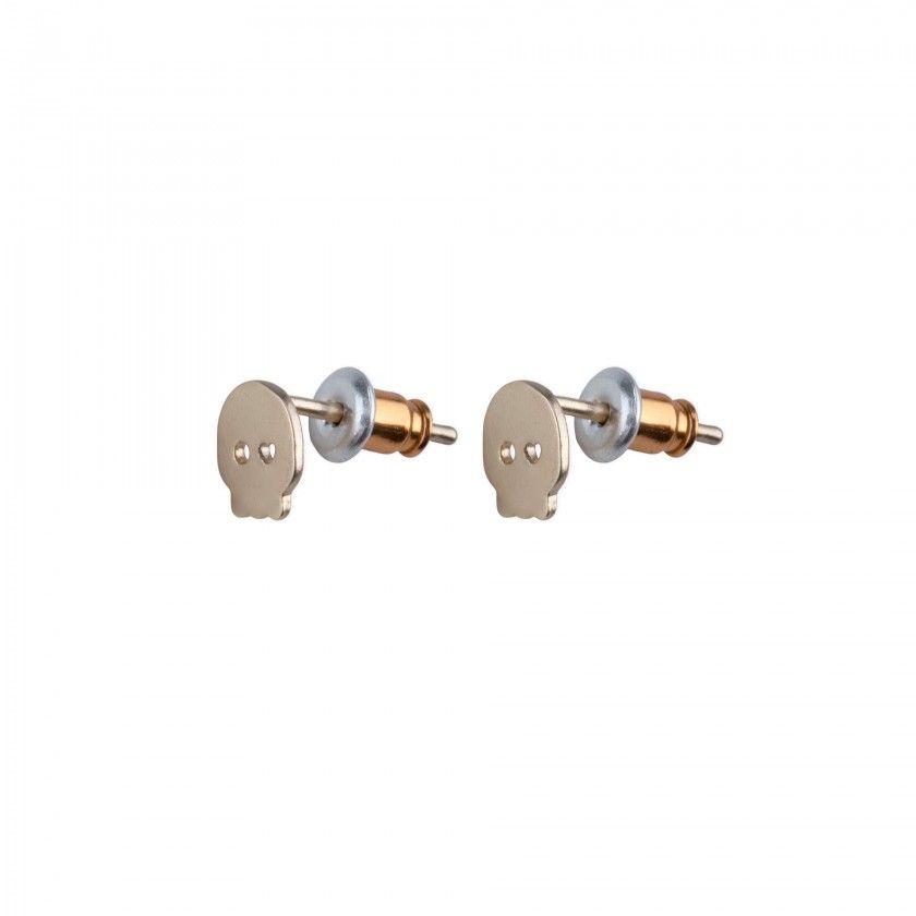 Golden brass skull earrings