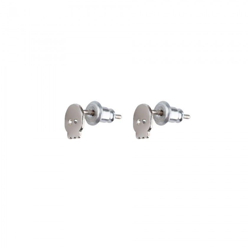 Silver brass skull earrings