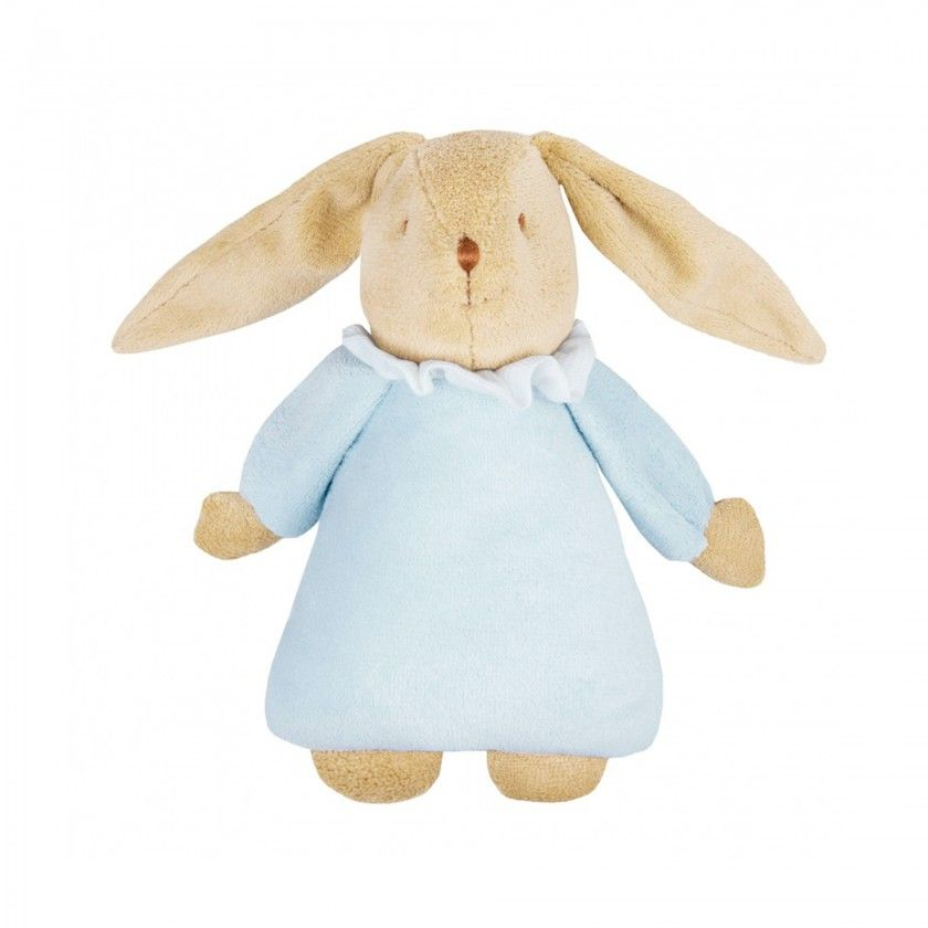 Musical bunny plush rattle ring blue