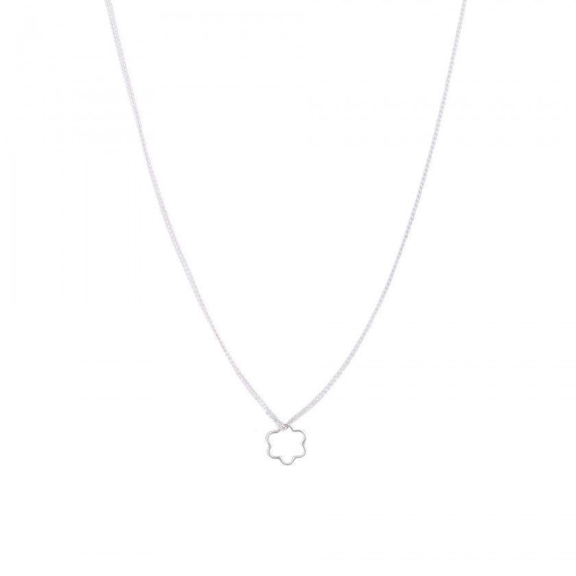 Silver flower brass necklace