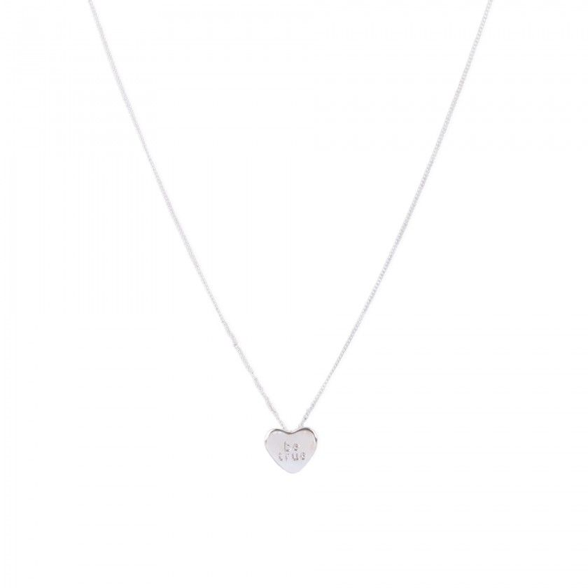 Silver be true heart necklace