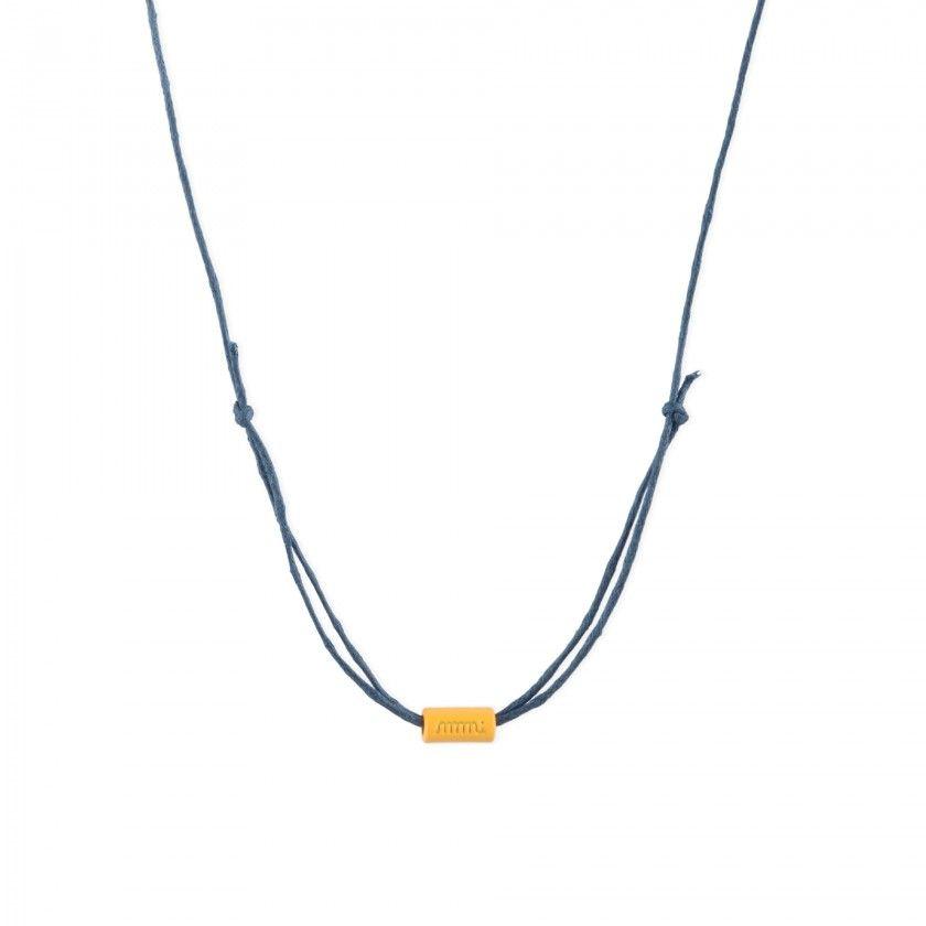 Colar fio Dk blue + heart  shinny gold