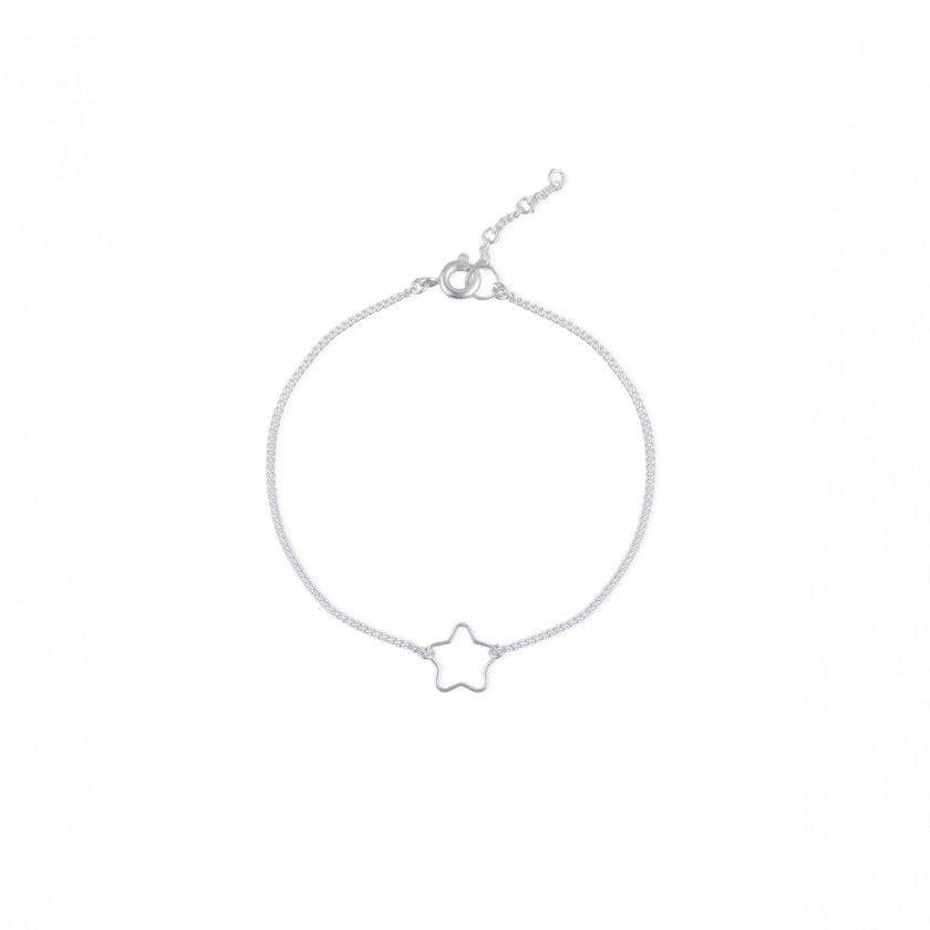 Silver star brass bracelet