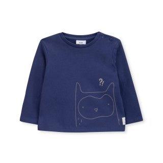 T-shirt manga comprida bebé algodão orgânico Confused Owl