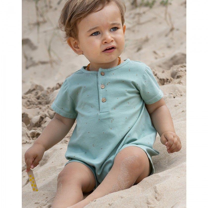 Barboteuse bebé algodão orgânico Basil Seeds