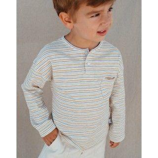 T-shirt manga comprida menino algodão orgânico Bolso