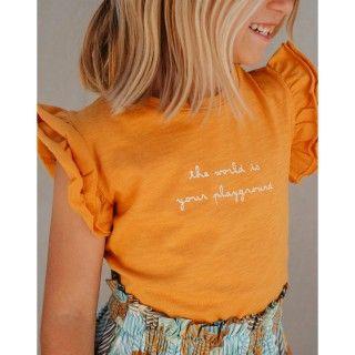T-shirt manga curta menina algodão orgânico Recreio