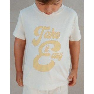 T-shirt manga curta menino algodão orgânico Take it easy