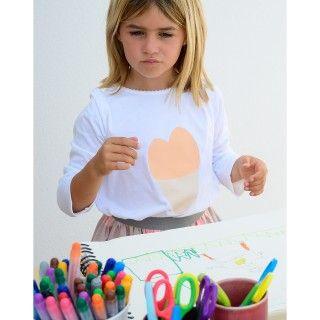 T-shirt manga comprida menina algodão orgânico A Heart