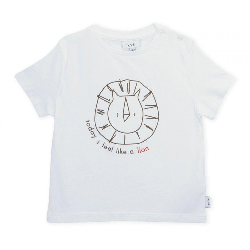 T-shirt manga curta bebé algodão orgânico Lion