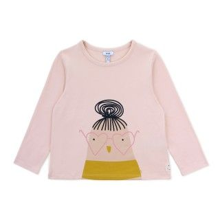 T-shirt manga comprida menina algodão orgânico Birdette