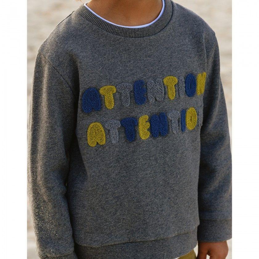 Sweatshirt terry boy Attention
